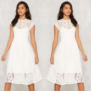 Endless Rose 2 pc lace Midi Dress White